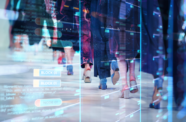 Models on a runway with an overlay of programming code