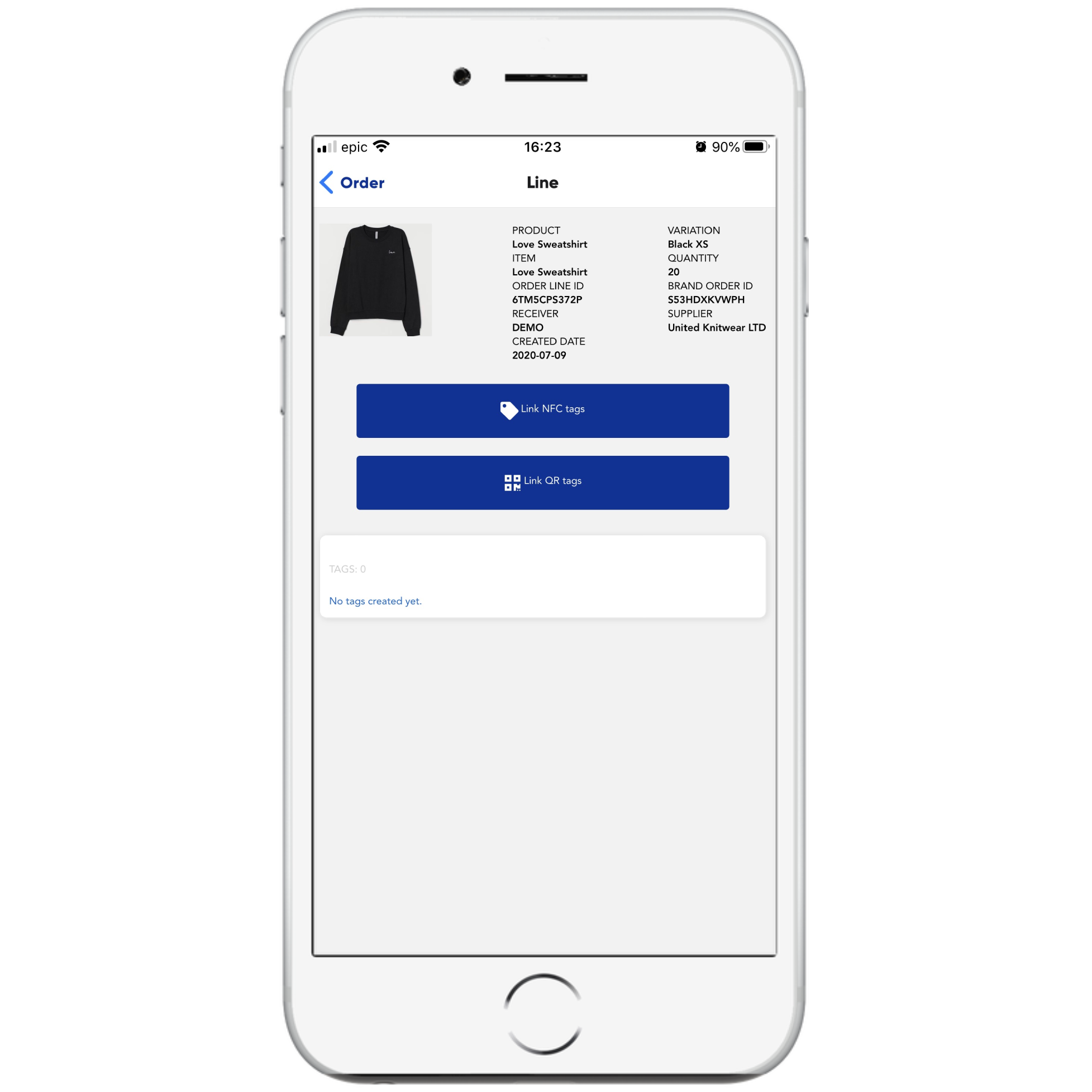 retraced business app showing the order line tagging options