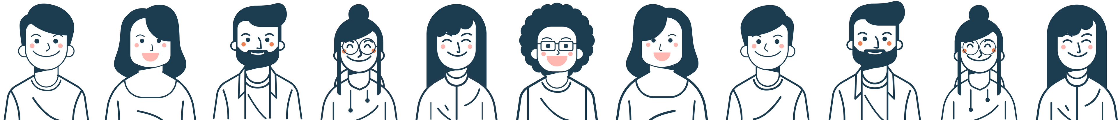 cartoon people side by side smiling