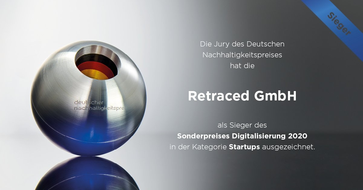 Retraced Wins German Sustainability Award 2020 for Top Startup in Digitalization