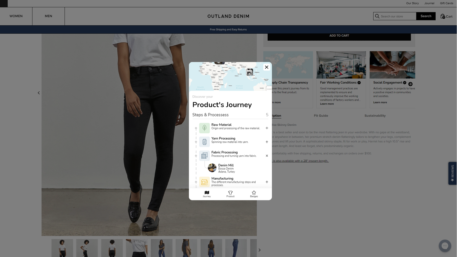 retraced eCommerce widget and plugin showing the product supply chain journey