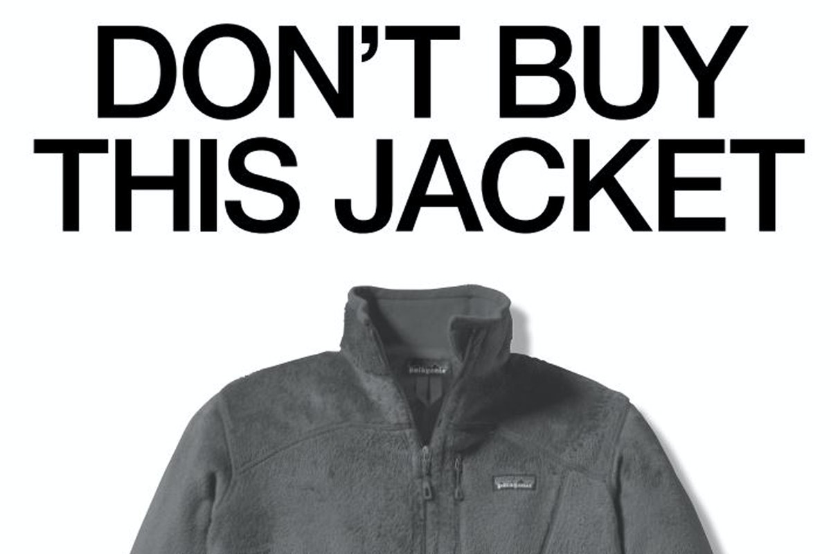"""Patagonia jacket with the statement """"Don't buy this jacket"""" above"""