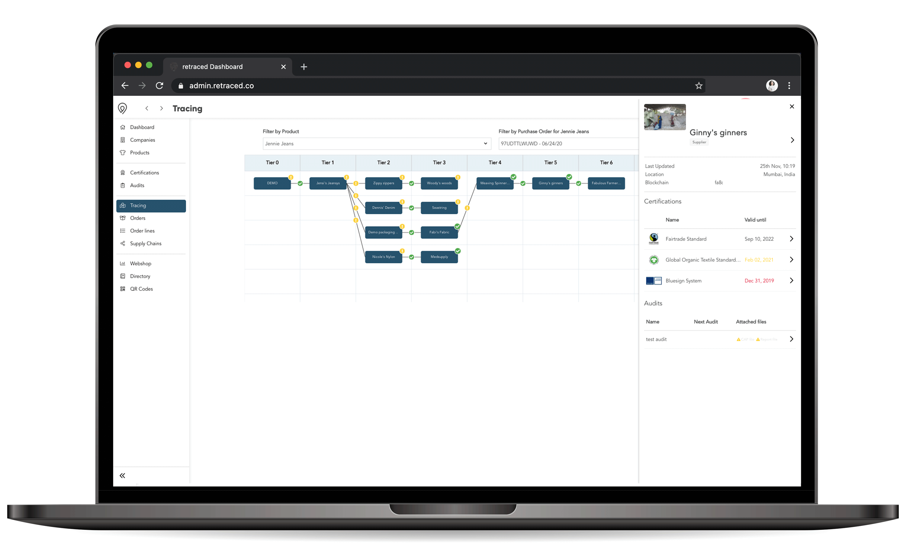 screen image of retraced solution showing supply chain overview